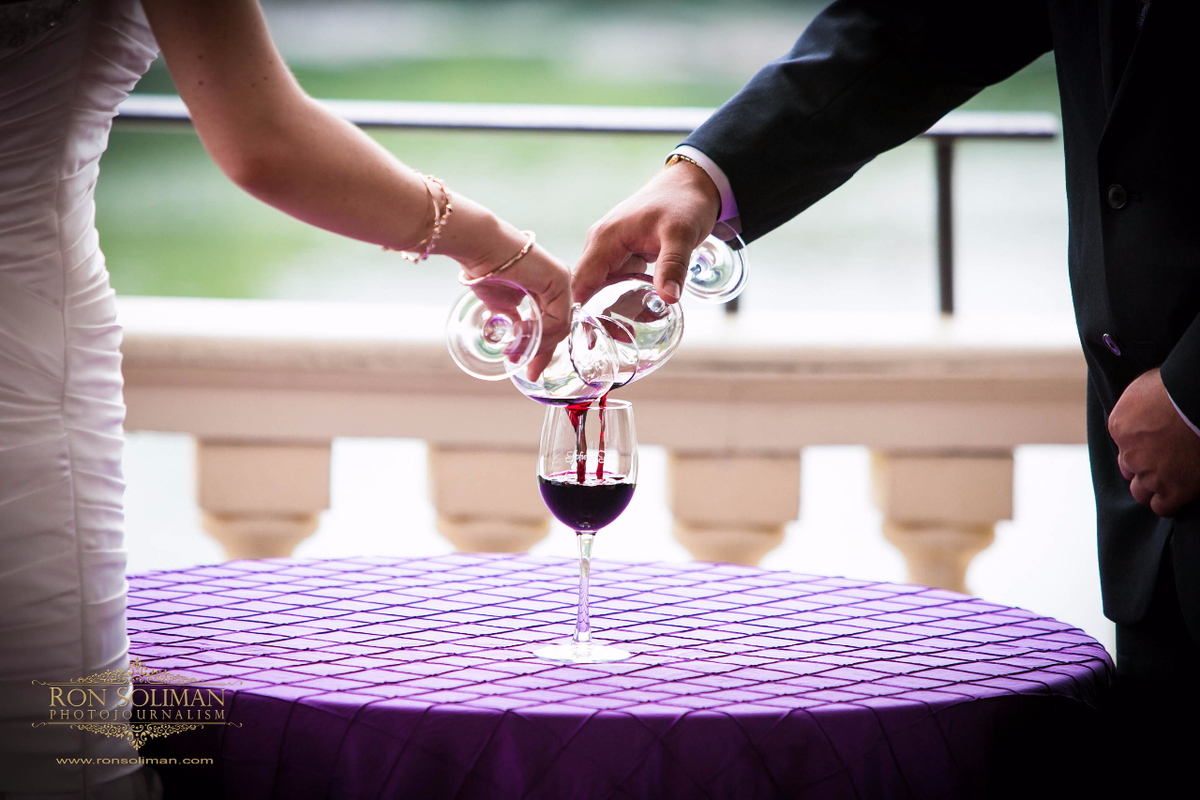 Pouring wine at a wedding